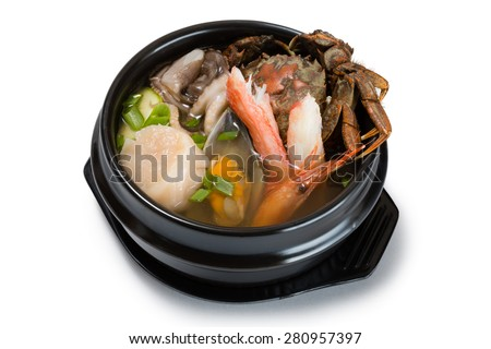 Hae-mul-tang soup with assorted seafood & vegatable. From a series of Food Korean cuisine. - stock photo