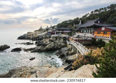 Haedong Yonggungsa seaside temple at Busan, Korea. - stock photo