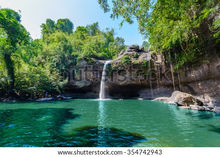 Haew Suwat Waterfall, Paradise in Tropical rain forest of Thailand - stock photo