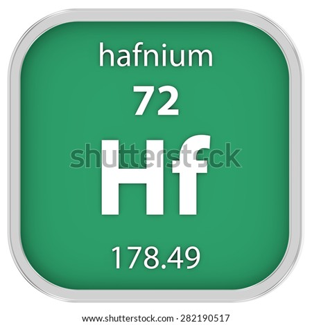 Hafnium material on the periodic table. Part of a series. - stock photo