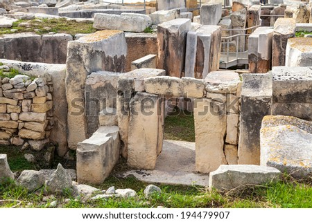 Hagar Qim, ancient Megalithic Temple of Malta, is a unesco world heritage site on the island nation of Malta. - stock photo