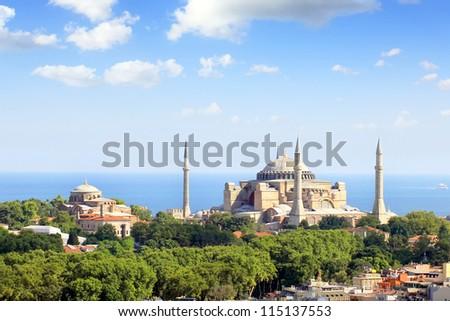 Hagia Irene and Hagia Sophia, Istanbul, Turkey - stock photo