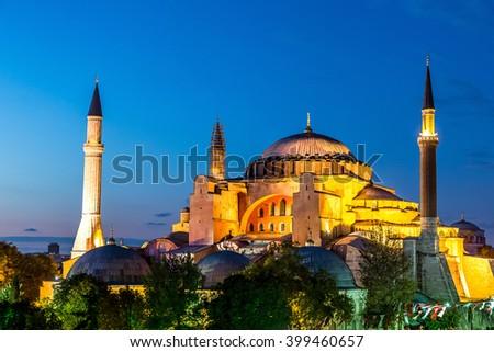 Hagia Sophia, a former Orthodox patriarchal basilica, in a summer night in Istanbul, Turkey - stock photo