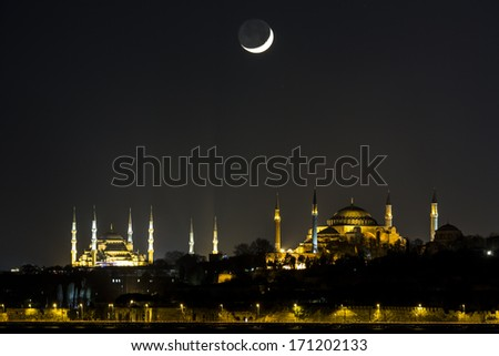 Hagia Sophia and the Blue Mosque - stock photo