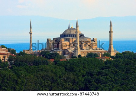 Hagia Sophia  before Marmara sea, Istanbul, Turkey - stock photo