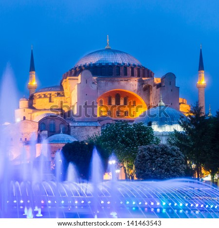 Hagia Sophia, former Orthodox patriarchal basilica (church), later a mosque, and now a museum as seen from Sultanahmet Park at dusk.; Istanbul, Turkey. - stock photo