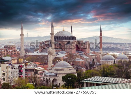 Hagia Sophia in Istanbul. The world famous monument of Byzantine architecture. View of the St. Sophia Cathedral at sunset. - stock photo