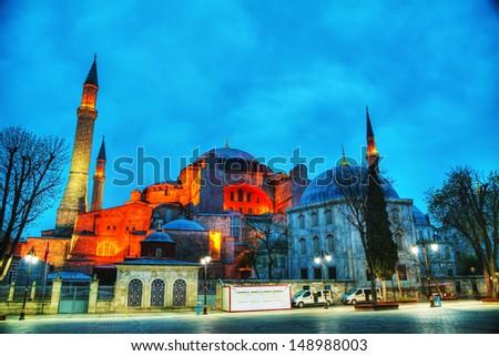 Hagia Sophia in Istanbul, Turkey in the morning - stock photo
