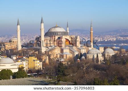 Hagia Sophia in the evening, Istanbul, Turkey - stock photo