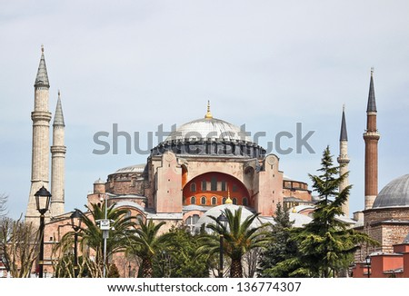 Hagia Sophia is a former Orthodox patriarchal basilica, later a mosque, and now a museum in Istanbul, Turkey. - stock photo