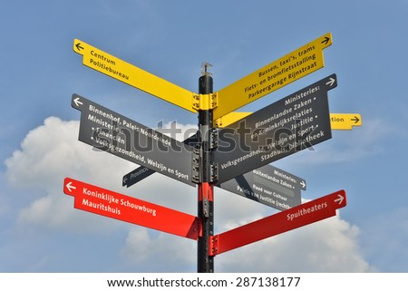 HAGUE, NETHERLANDS-AUGUST 01, 2014: Direction signs for tourists in touristic center of Hague. - stock photo