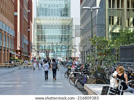 HAGUE, NETHERLANDS-AUGUST 01, 2014: Entry to The Hague Central railway station or Den Haag Centraal - stock photo