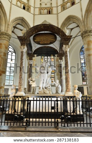 HAGUE, NETHERLANDS-AUGUST 01, 2014: Interior of Grote Kerk Den Haag or Grote of Sint-Jacobskerk built during15-16 centuries. - stock photo