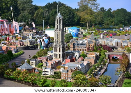 HAGUE - SEPTEMBER 19: Scaled replica of Dom Tower at Madurodam minature park, taken on September 19, 2014 in Hague, Netherlands - stock photo