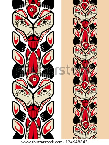 Haida style seamless pattern created with animal images. Raster. Check my portfolio for a vector version. - stock photo