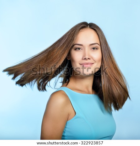 Hair. Amazing woman. Perfect female beauty. Girl with clean skin, healthy hair and charisma. Beautiful woman's portrait. - stock photo