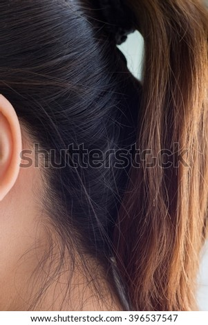 Hair bad from hair coloring,Asian women - stock photo