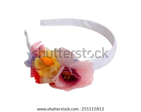 Hair band with flowers isolated on white. - stock photo