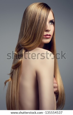 Hair. Beautiful Blonde Girl. Healthy Long Hair. Beauty Model - stock photo