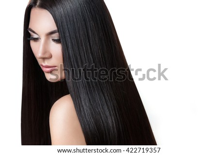 Hair. Beautiful brunette girl . Healthy long hair . Isolated white background . Beauty model woman . Hairstyle - stock photo