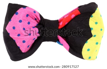 Hair bow tie black with colorful multicolor details - stock photo