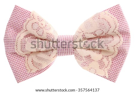 Hair bow tie lilac with lace vintage - stock photo