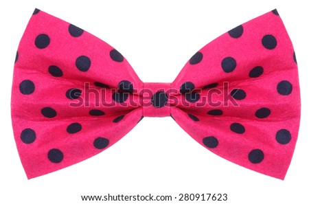 Hair bow tie pink with dark blue dots - stock photo