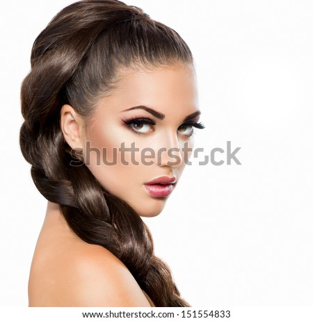 Hair Braid. Beautiful Woman with Healthy Long Hair. Hairdressing. Hairstyle - stock photo