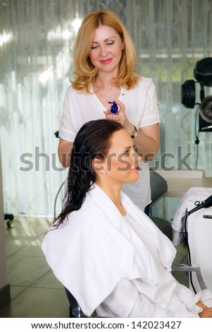 hair care in the beauty salon - stock photo