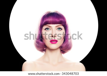 Hair Colored Concept. Beautiful Woman with Coloring Hair. - stock photo