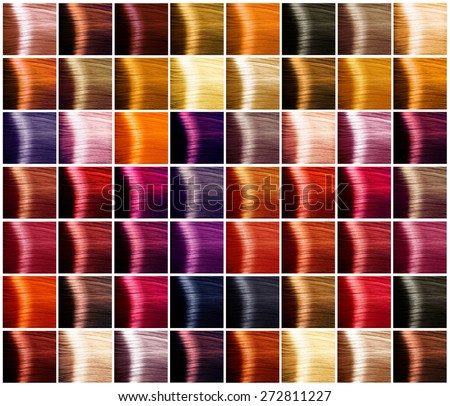 Hair Colors palette. Hair colours set. Tints. Dyed Hair Color Samples - stock photo