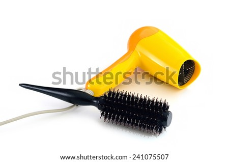 hair dryer and comb brush, isolate white background - stock photo