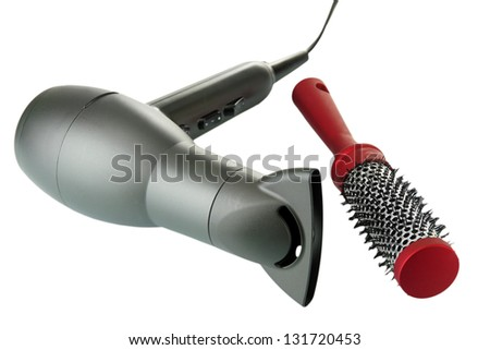hair dryer and comb brush, isolated on white - stock photo
