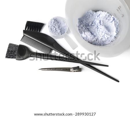 hair dye kit with white background - stock photo