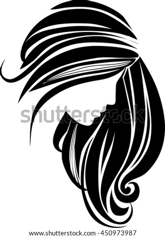 Hair icon. Beautiful female silhouette. Girl with long hair. Raster version - stock photo