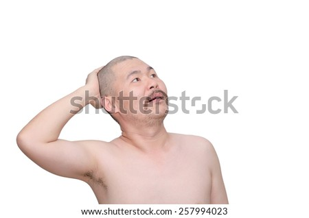 Hair loss man looking for something to help his hair - stock photo