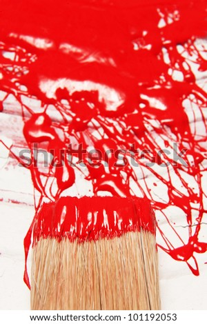 hair of a paintbrush and abstract painting on a vessels - stock photo
