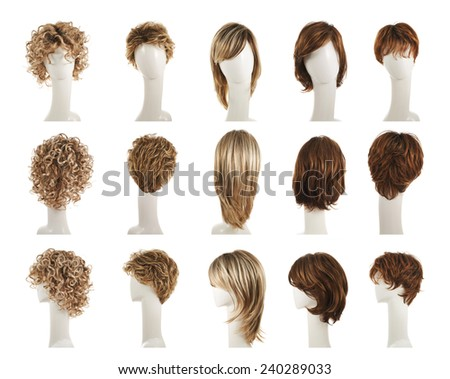 Hair wig over the white plastic mannequin head isolated over the white background, set of five different wigs in front, back and side foreshortenings - stock photo