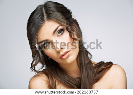 Hair. Woman face. Closeup portrait. Female model studio posing. - stock photo