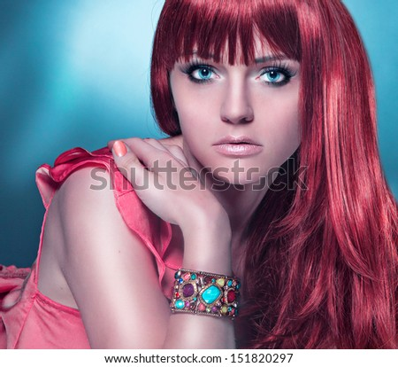 haircolors look into the camera - stock photo