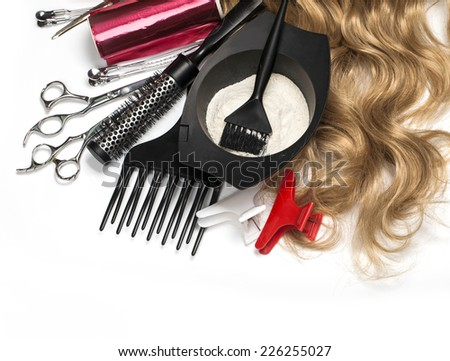 hairdresser Accessories for coloring hair on a white background - stock photo