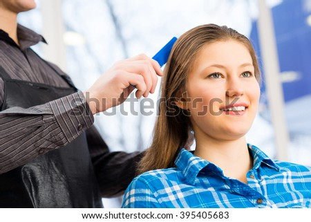 hairdresser and client - stock photo