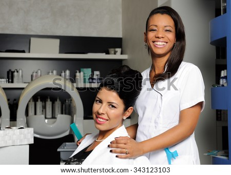 hairdresser and customer - stock photo