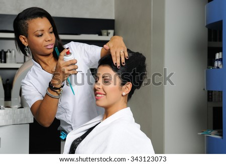 hairdresser at work - stock photo