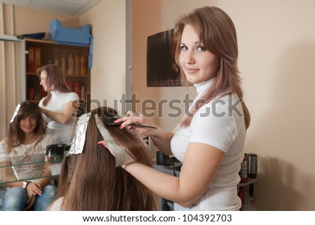 Hairdresser coloring   long-haired girl hair - stock photo