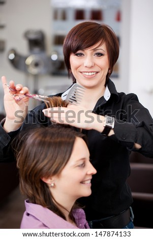 Hairdresser cutting a womans hair in a professional salon with both women smiling happily - stock photo