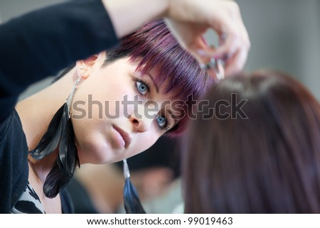 Hairdresser cutting hair - stock photo