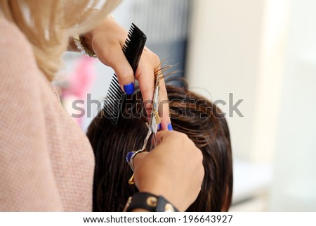 Hairdresser salon. Woman during haircut - stock photo