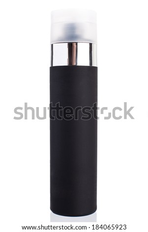 Hairspray in a black iron bottle with a white cover and a metal insert, on a white background without people. - stock photo