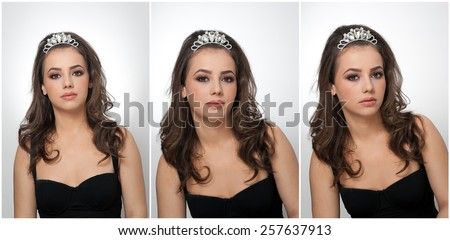 Hairstyle and make up - beautiful female art portrait with beautiful eyes. Genuine natural brunette with jewelry, studio shot. Portrait of a attractive woman with tiara and creative make up - stock photo
